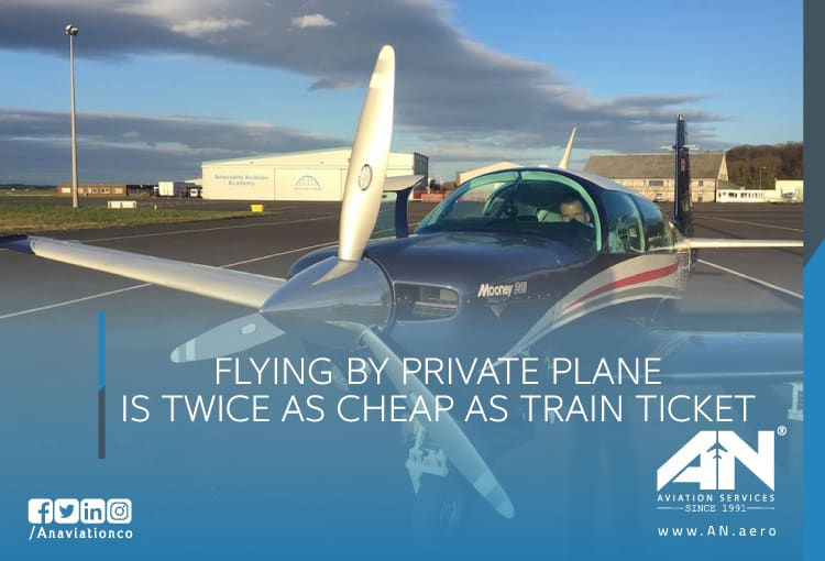 FLYING BY PRIVATE PLANE IS TWICE AS CHEAP AS TRAIN TICKET