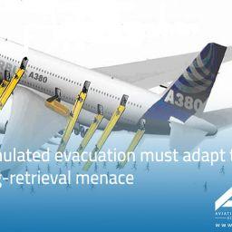 Simulated evacuation must adapt to bag-retrieval menace